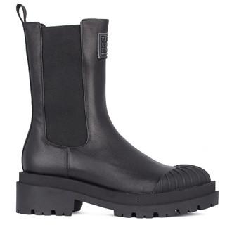 Women's Black Leather  Boots GD 5323011 BLI