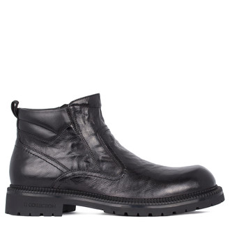 Men's Aged Black Leather Boots with Shearling Interior GK 7516011 BLA