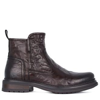 Men's Textured Matte Leather Boots GK 7519111 DBA