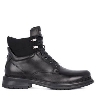 Men's Polished Black Leather Boots with Elastic Inserts GK 7519211 BLK