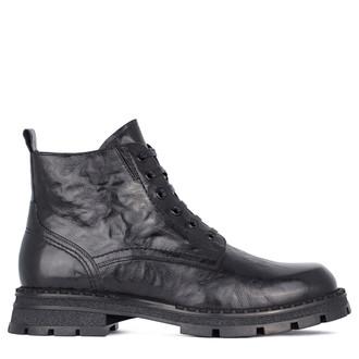 Men's Textured Black Leather Boots GK 7522811 BLA