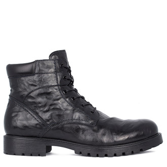 Men's Black Washed Leather Winter Boots GN 7526911 BLA