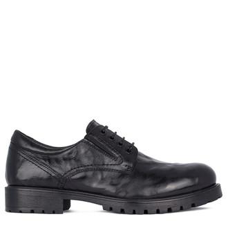 Men's Washed Black Leather Winter Derbies GN 7726811 BLA