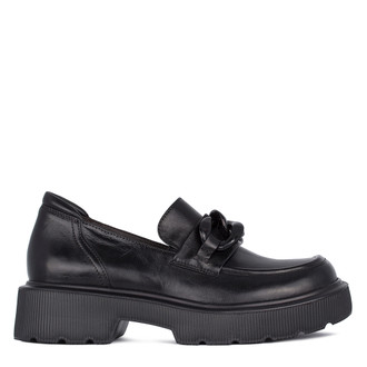 Women's Smooth Leather Chunky Loafers GP 5223211 BLK