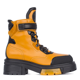 Women's Yellow Leather Boots GS 5326011 YLB