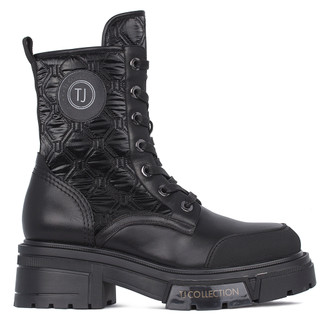 Women's Black Leather & Quilted Textile Boots GS 5326511 BLK