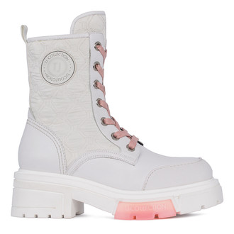 Women's White Leather & Quilted Textile Boots GS 5326511 WHB