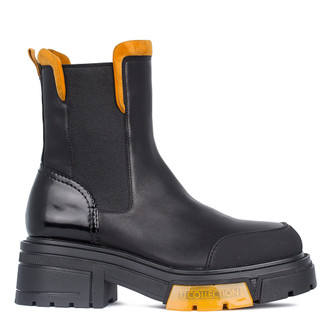 Women's Black & Yellow Leather Chelsea Boots GS 5326711 BLY