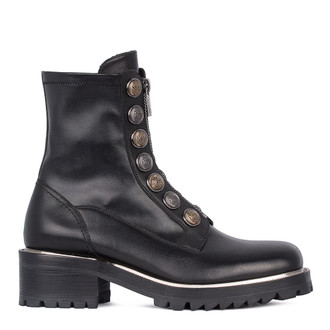 Women's Polished Leather Long Boots with Uniform Buttons GS 5327031 BLZ