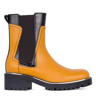 Women's Yellow Leather Chelsea Boots GS 5327511 YLB