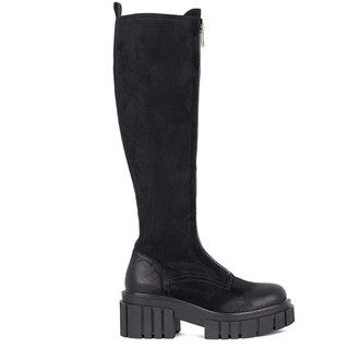 Women's Suede Long Boots with Front Zipper GS 5430931 BLV