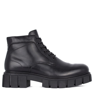Men's Chunky Black Leather Ankle Boots MP 7532511 BLK