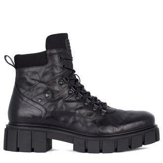 Men's Textured Leather Winter Boots MP 7532811 BLA