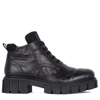 Men's Leather Chunky Boots MP 7532911 BLA