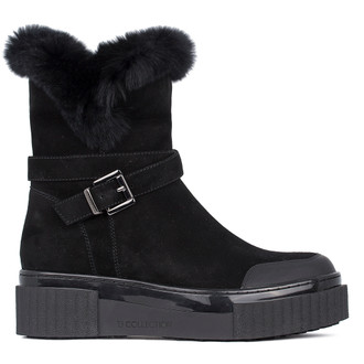 Women's Shearling-Trimmed Black Suede Boots TF 5528811 BLS