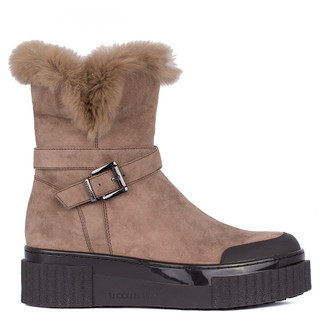 Women's Shearling-Lined Beige Suede Boots TF 5528811 TPB