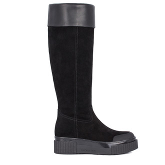 Women's Black Suede Long Boots TF 5728011 BLS