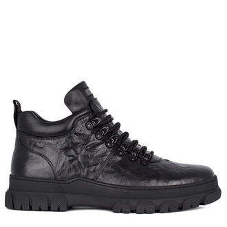 Men's Textured Leather Winter Shoes TK 7515011 BLA