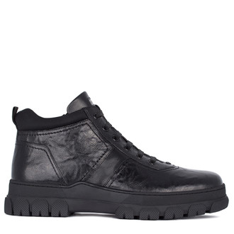 Men's Textured Leather Winter Shoes TK 7515511 BLA