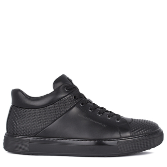 Men's Black Leather Winter Sneakers TL 7525511 BLZ
