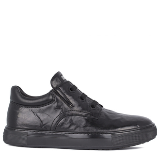 Men's  Black Leather Winter Boots TL 7525811 BLA