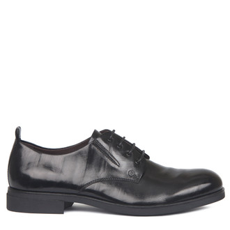 Derby Shoes in Black Texture Leather | TJ COLLECTION | Main Image