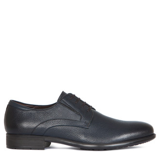 Classic Derby Shoes in Grain Navy Leather | TJ COLLECTION | Main Image