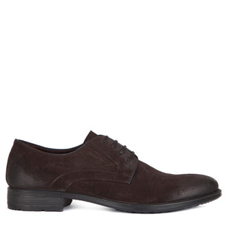Classic Derby Shoes in Brown Suede | TJ COLLECTION | Main Image