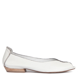 Women's Soft White Leather Peep-Toe Ballerinas GP 5101013 WHB