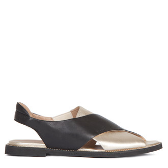 Sandals in Gold & Black Soft Leather | TJ COLLECTION | Main Image