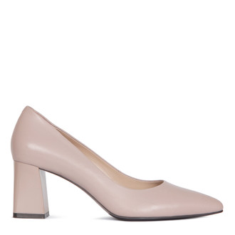 Block Heel Pumps in Taupe Leather | TJ COLLECTION | Main Image