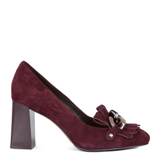 Block Heel Chain Trim Loafers in Burgundy Suede | TJ COLLECTION | Main Image