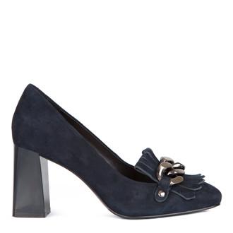 Women's Blue Suede Block Heel Loafers GF 5277517 NVZ