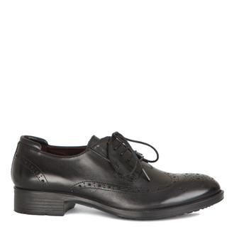 Classic Brogue Lace-Ups in Black Leather | TJ COLLECTION | Main Image