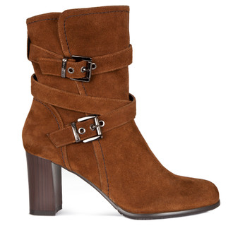 Strap Ankle Boots in Tan Suede   TJ COLLECTION    Main Image