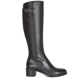 Women's Smooth and Quilted Leather Long Boots GD 5449016 BLK