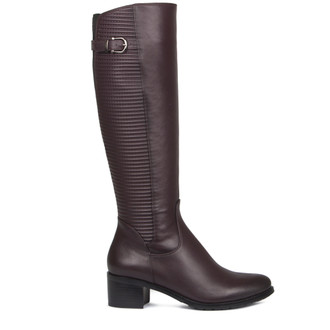 Women's Burgundy Smooth and Quilted Leather Long Boots GD 5449017 BDA