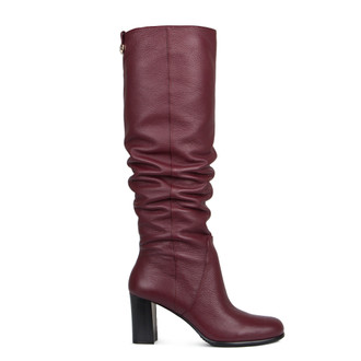 Over-The-Knee Boots in Grained Burgundy Leather | TJ COLLECTION | Main Image