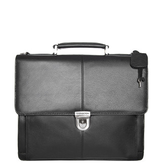 Black Textured Leather Classic Business Bag XH 7450310 BLK
