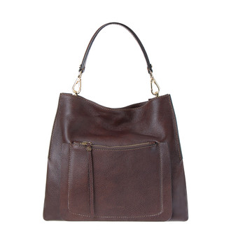 Brown Grained Leather Boho Bag Barcelona YG 5368016 BRA