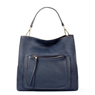 Navy Grained Leather Boho Bag Barcelona YG 5368015 NVY