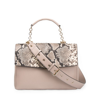 Taupe Grained Leather Structured Satchel Bag Lausanne YT 5338017 TPZ