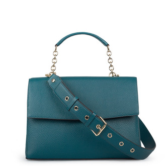 Structured Green Leather Satchel Bag Lausanne YT 5338018 DGN