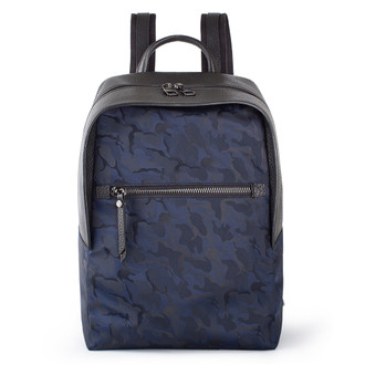 Grained Leather and Military Print Nylon Amsterdam Backpack YT 8468838 BLU