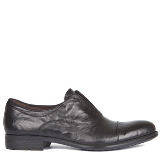 Black Washed Leather Casual Oxford Shoes | TJ COLLECTION | Main Image