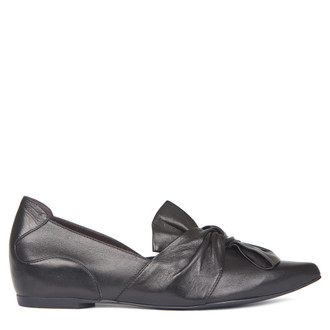 Black Leather Pointy Slip-Ons | TJ COLLECTION | Main Image