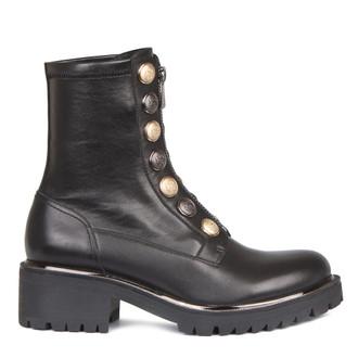 Women's Buttons Trim Stretch Leather Boots  GS 5329038 BLZ