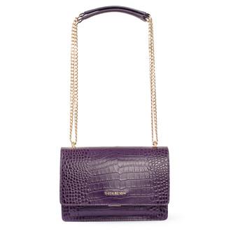 Embossed Amethyst Leather Chain Trim Shoulder Bag San Marino XT 5131018 VLC