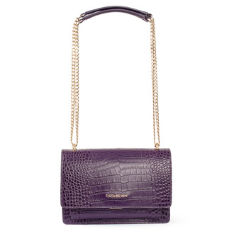 Embossed Amethyst Leather Chain Trim Shoulder Bag San Marino XT 5131018 VLC