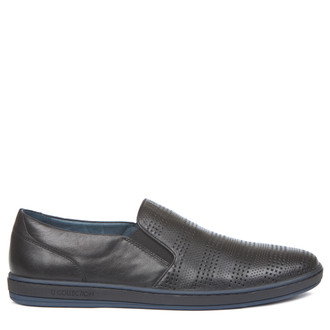Men's Perforated Leather Slip-On Sneakers TK 7103019 BLK